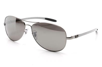 Ray-Ban 8301 Carbon Fibre Collection Silver Polarised Sunglasses