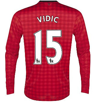 2012-13 Man Utd Nike Long Sleeve Home (Vidic 15) - Kids