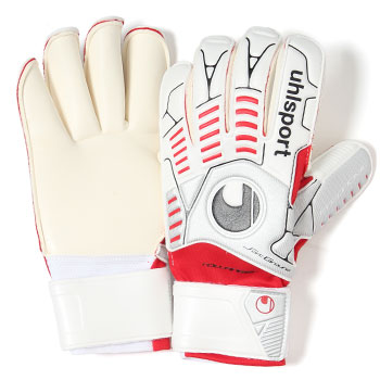 Ergonomic Soft Rollfinger Goalkeeper Gloves White/Silver/Red