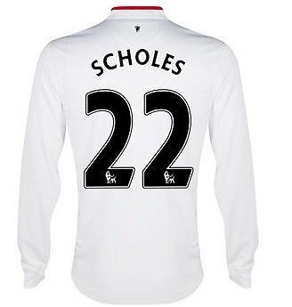 2012-13 Man Utd Long Sleeve Away Shirt (Scholes 22) - Kids