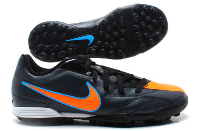 Total 90 Exacto IV TF Kids Football Trainers Black/Total Orange/Blue Glow