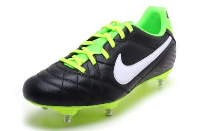 Tiempo Natural IV LTR SG Kids Football Boots Black/White/Electric Green