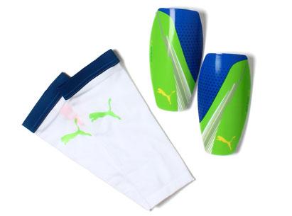 Evospeed 3 Slip Shin Guards Green/Blue/Grey