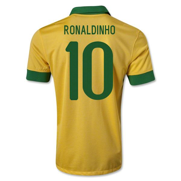 2013-14 Brazil Home Shirt (Ronaldinho 10) - Kids