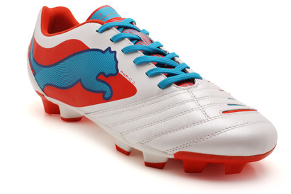 Powercat 3 FG Football Boots White/Ocean Blue/Orange