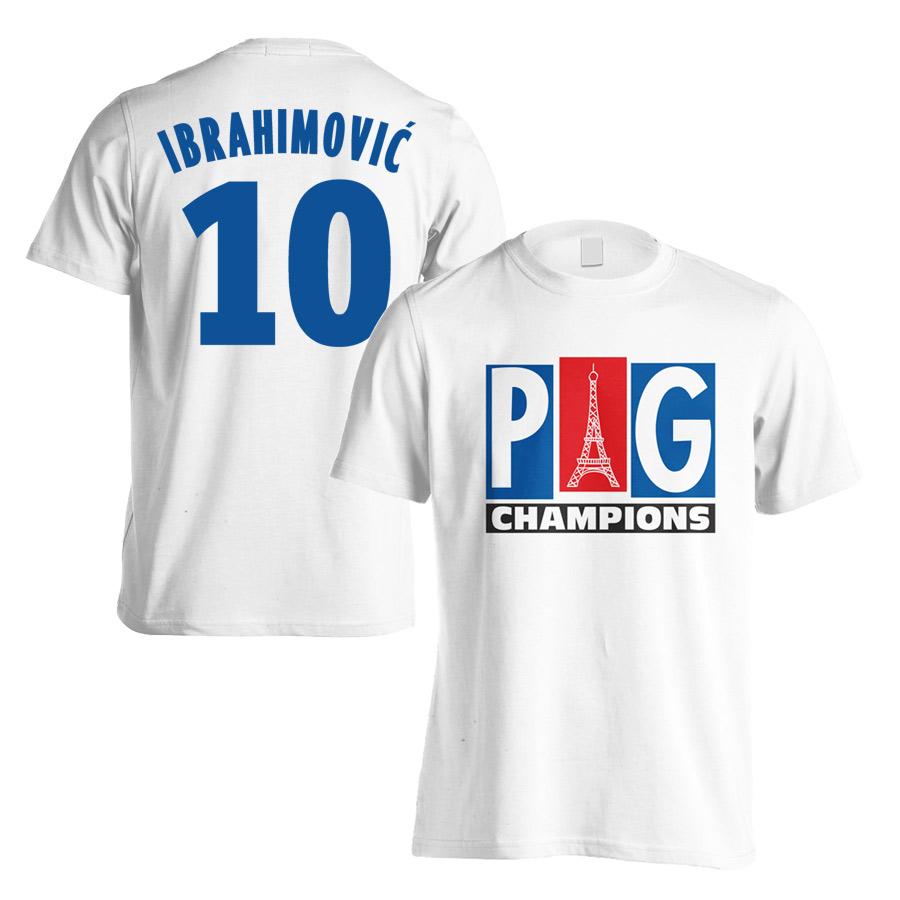 PSG Champions T-Shirt (Ibrahimovic 10) - White (Kids)