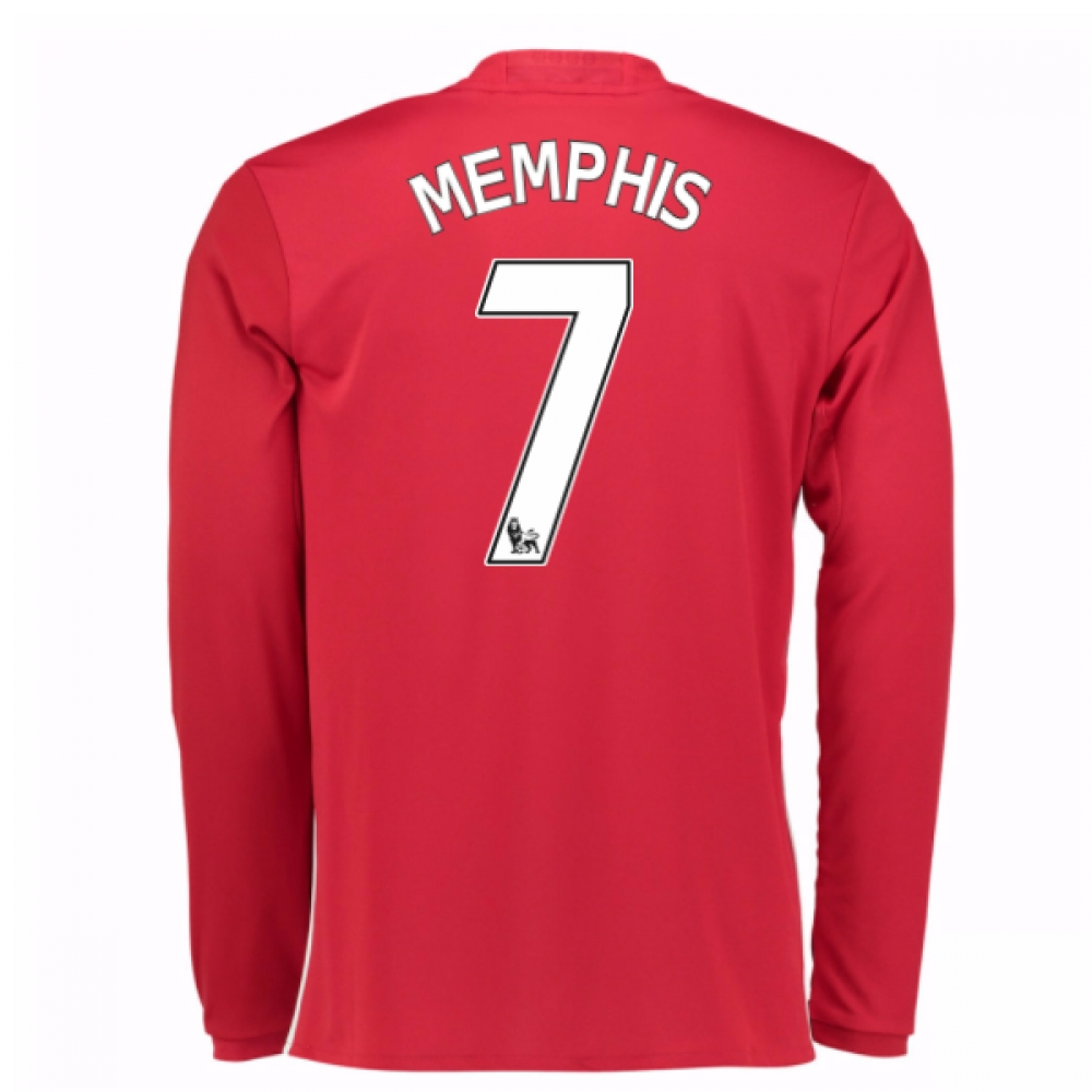 2016-17 Man United Home Long Sleeve Shirt (Memphis 7) - Kids