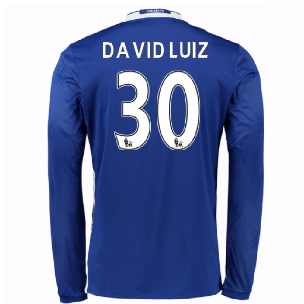 2016-17 Chelsea Home Long Sleeve Shirt (David Luiz 30) - Kids