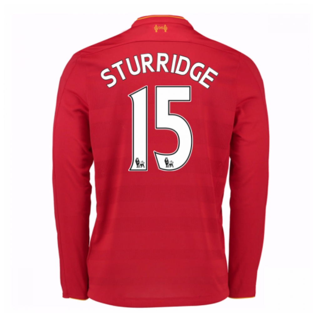2016-17 Liverpool Home Long Sleeve Shirt (Sturridge 15) - Kids