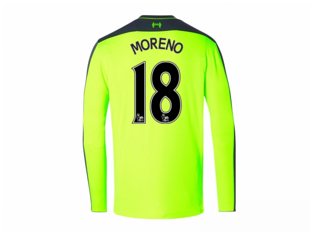 2016-17 Liverpool Third Long Sleeve Shirt (Moreno 18) - Kids