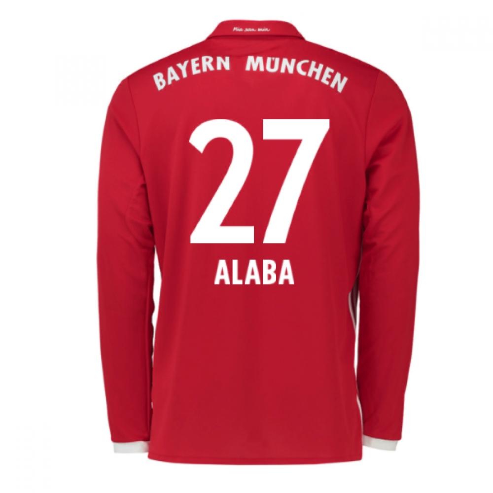 2016-17 Bayern Munich Long Sleeve Home Shirt (Alaba 27) - Kids