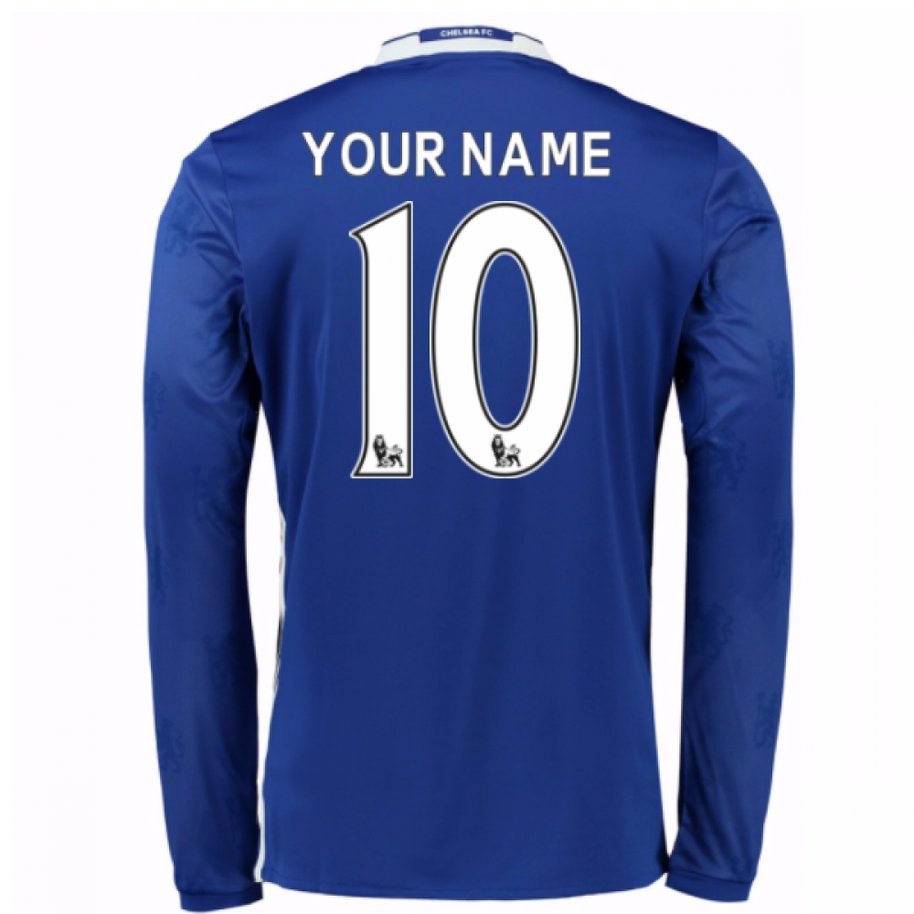 2016-17 Chelsea Home Long Sleeve Shirt (Your Name) -Kids