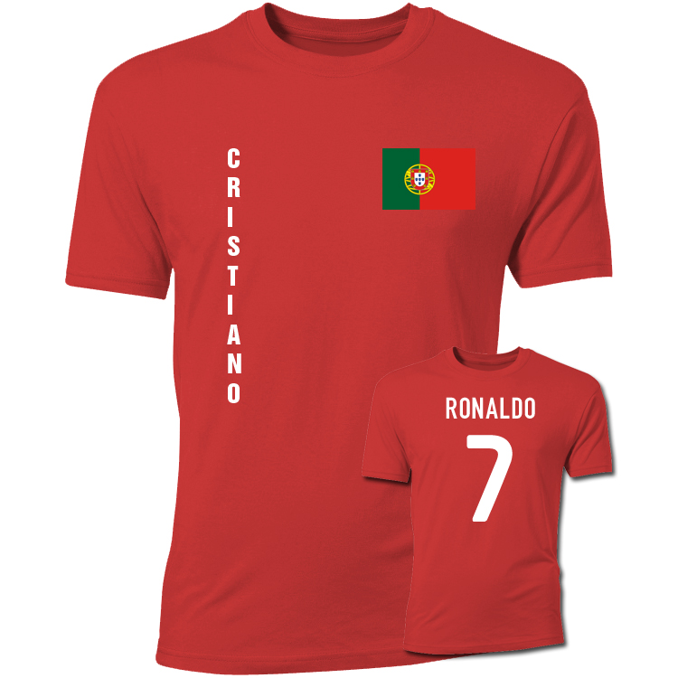 cristiano ronaldo portugal flag t shirt red tshirtredkids tshirtred uksoccershop. Black Bedroom Furniture Sets. Home Design Ideas