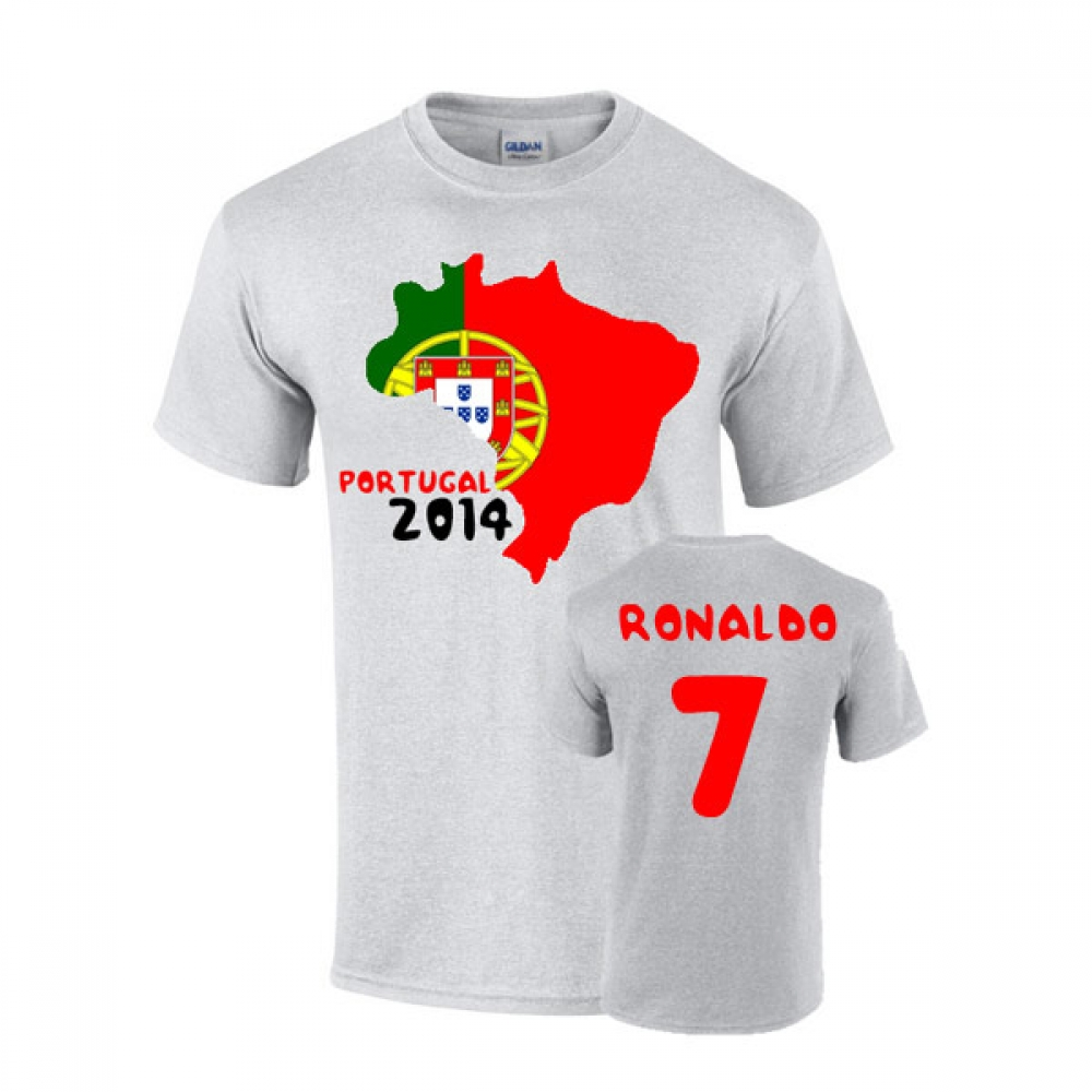 portugal 2014 country flag t shirt ronaldo 7 tshirtgrey uksoccershop. Black Bedroom Furniture Sets. Home Design Ideas
