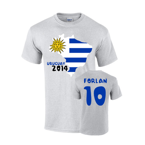 Uruguay 2014 Country Flag T-shirt (forlan 10)