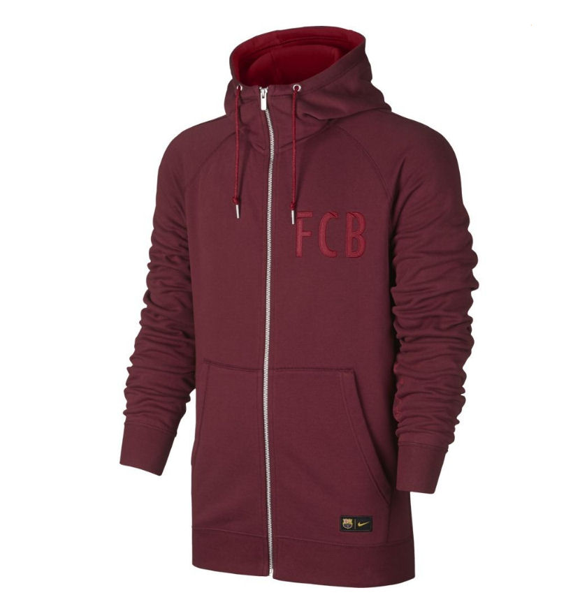 2016-2017 Barcelona Nike Authentic Full Zip Hoody (Red)