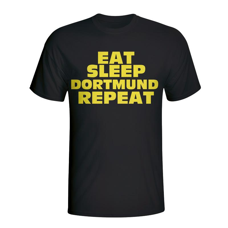 Eat Sleep Borussia Dortmund Repeat T-shirt (black) - Kids