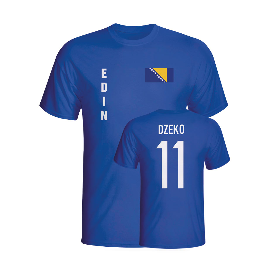 Edin Dzeko Bosnia Flag T-shirt (blue) - Kids