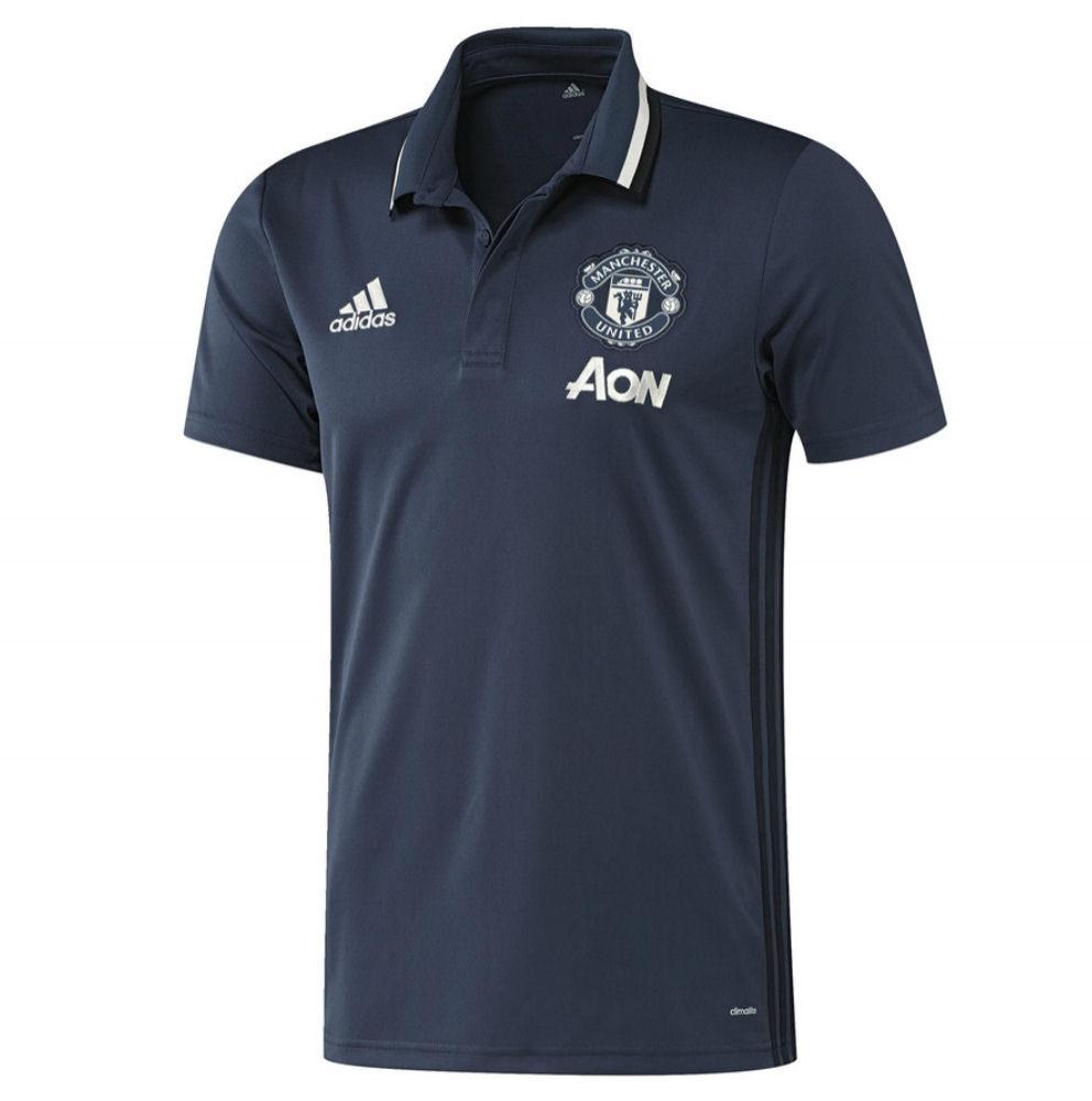 2016-2017 Man Utd Adidas Training Polo Shirt (Mineral Blue)