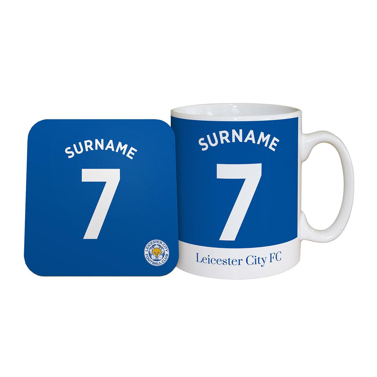 Personalised Leicester City Shirt Number Coaster & Mug Set