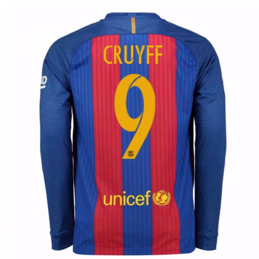 2016-17 Barcelona Home Long Sleeve Shirt (Cruyff 9)