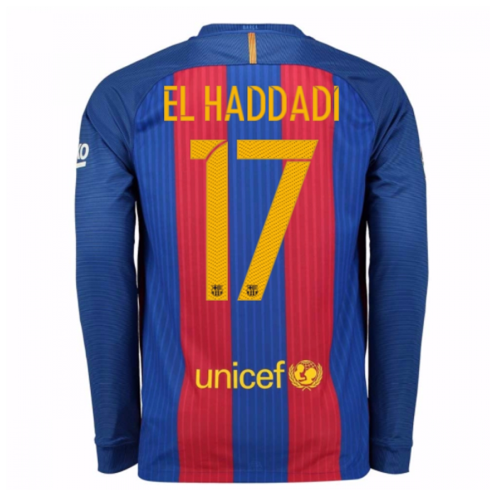 2016-17 Barcelona Home Long Sleeve Shirt (El Haddadi 17)
