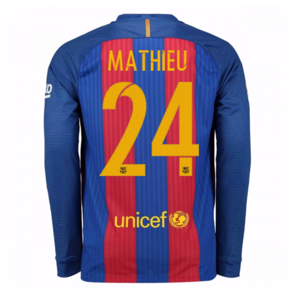 2016-17 Barcelona Home Long Sleeve Shirt (Mathieu 24)