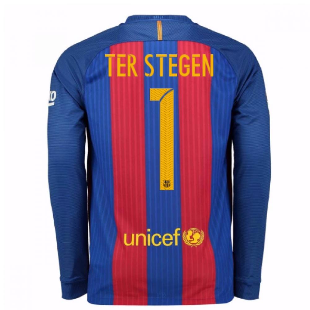 2016-17 Barcelona Home Long Sleeve Shirt (Ter Stegen 1)