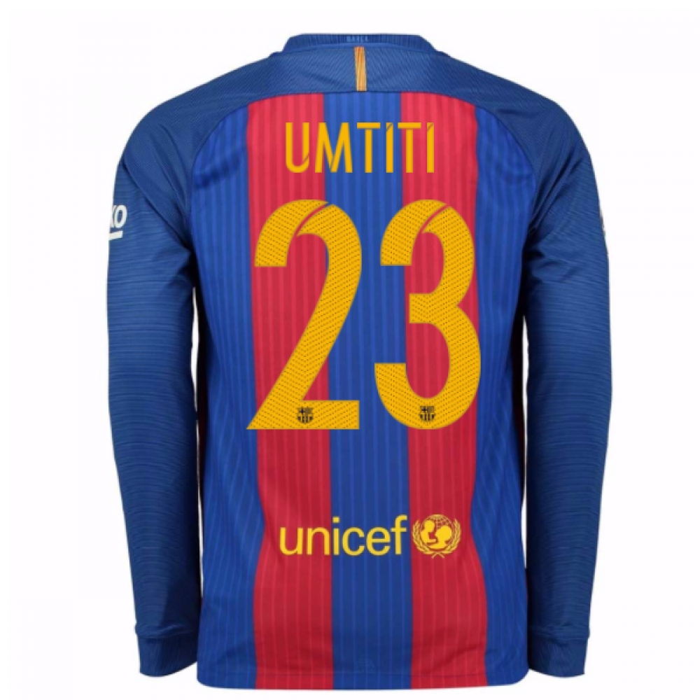 2016-17 Barcelona Home Long Sleeve Shirt (Umtiti 23)