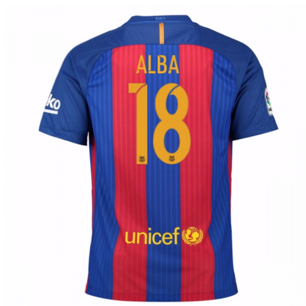 2016-17 Barcelona Sponsored Home Shirt (Alba 18)