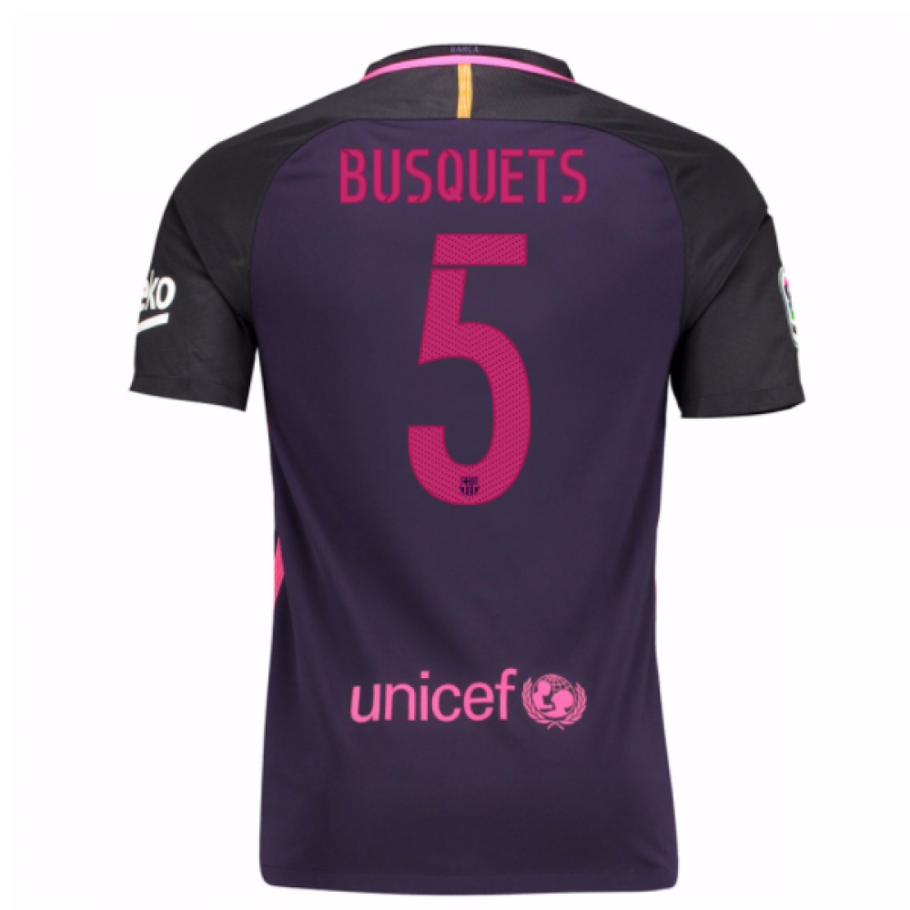 2016-17 Barcelona With Sponsor Away Shirt - (Kids) (Busquets 5)