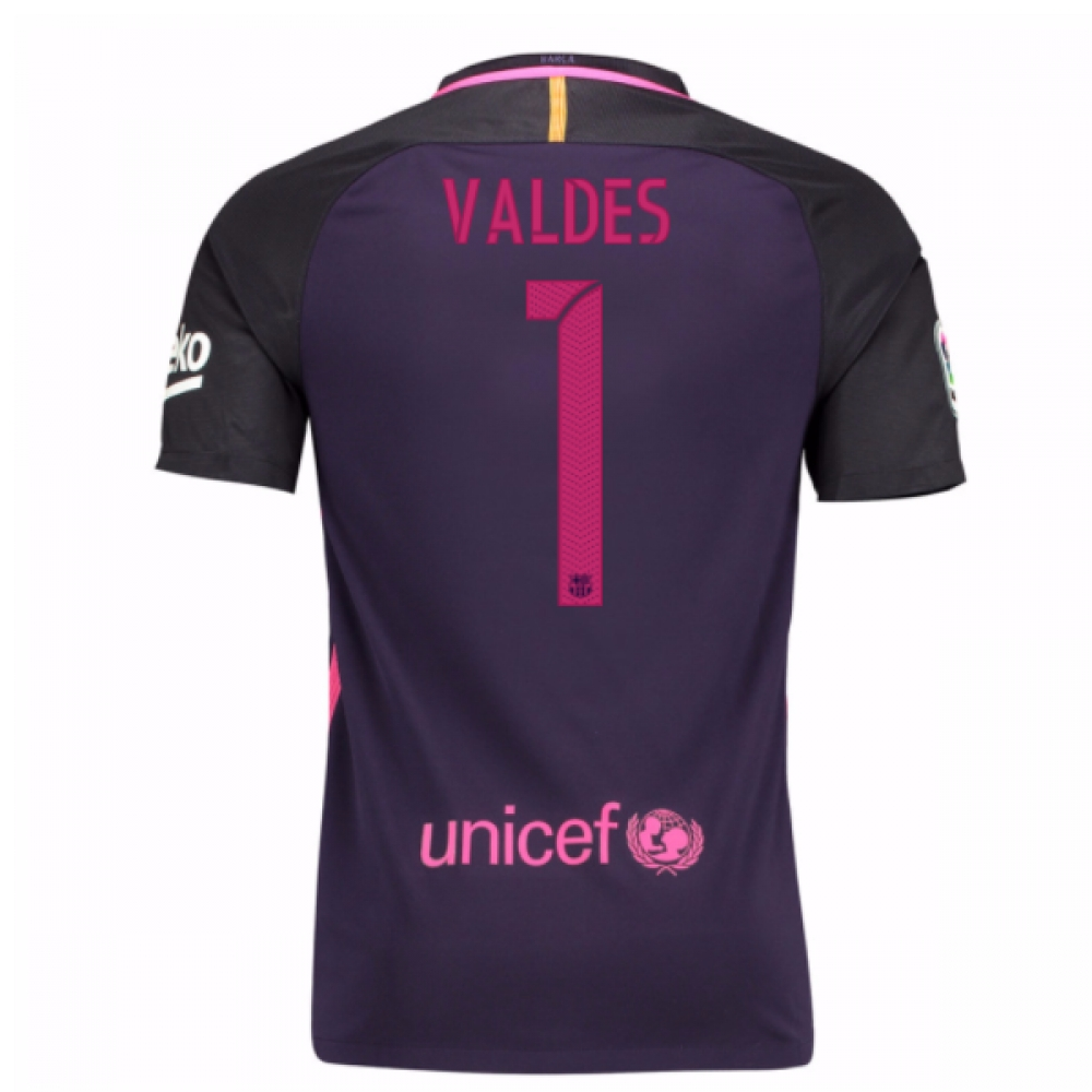 2016-17 Barcelona With Sponsor Away Shirt - (Kids) (Valdes 1)