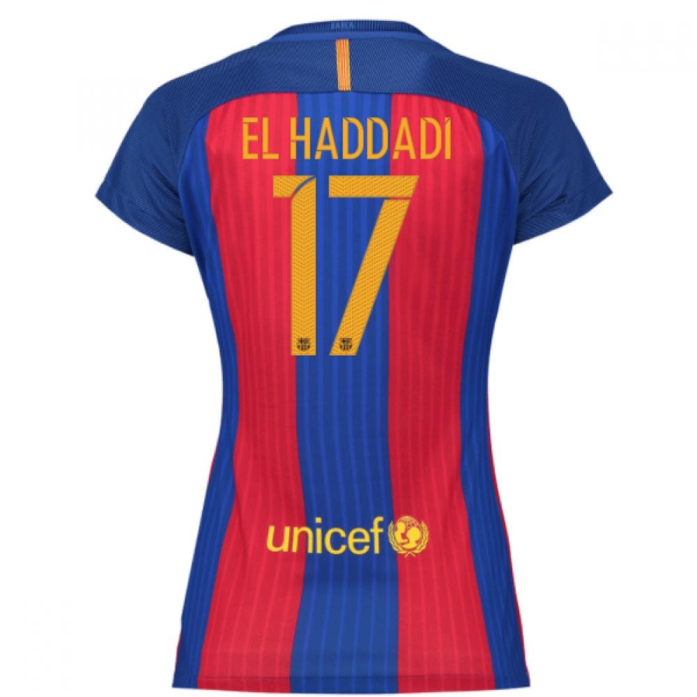 2016-17 Barcelona with Sponsor Womens Home Shirt (El Haddadi 17)