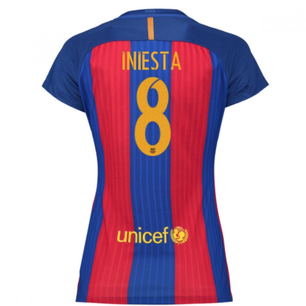 2016-17 Barcelona with Sponsor Womens Home Shirt (Iniesta 8)