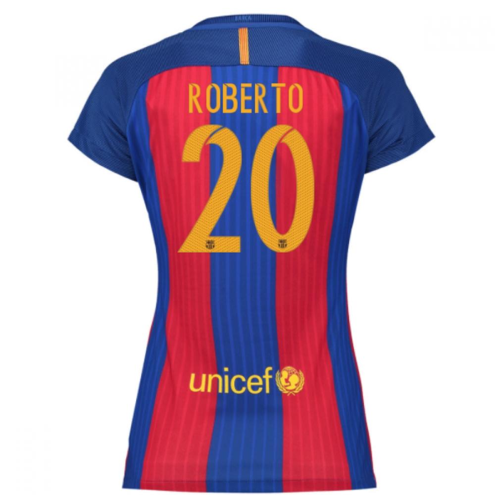 2016-17 Barcelona with Sponsor Womens Home Shirt (Roberto 20)