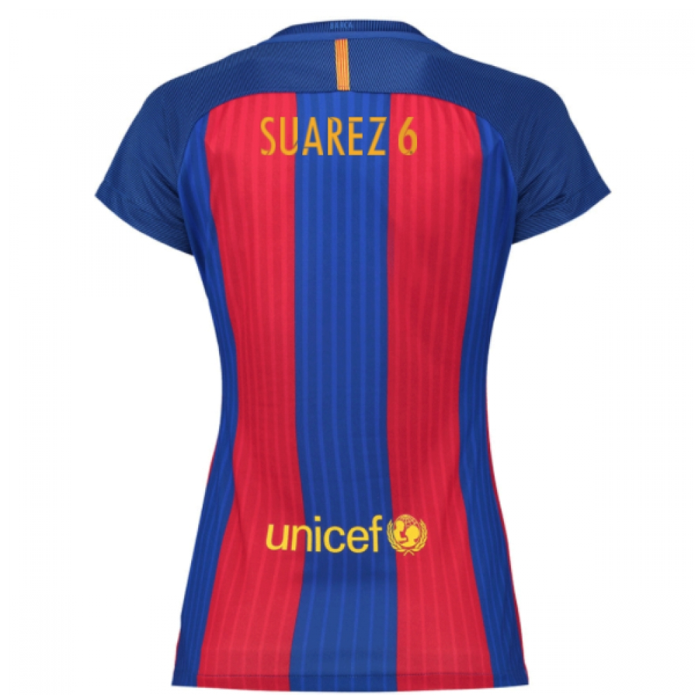 2016-17 Barcelona with Sponsor Womens Home Shirt (Dennis Suarez 6)