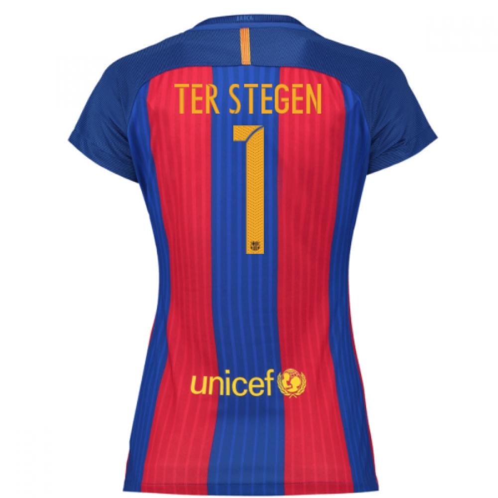 2016-17 Barcelona with Sponsor Womens Home Shirt (Ter Stegen 1)