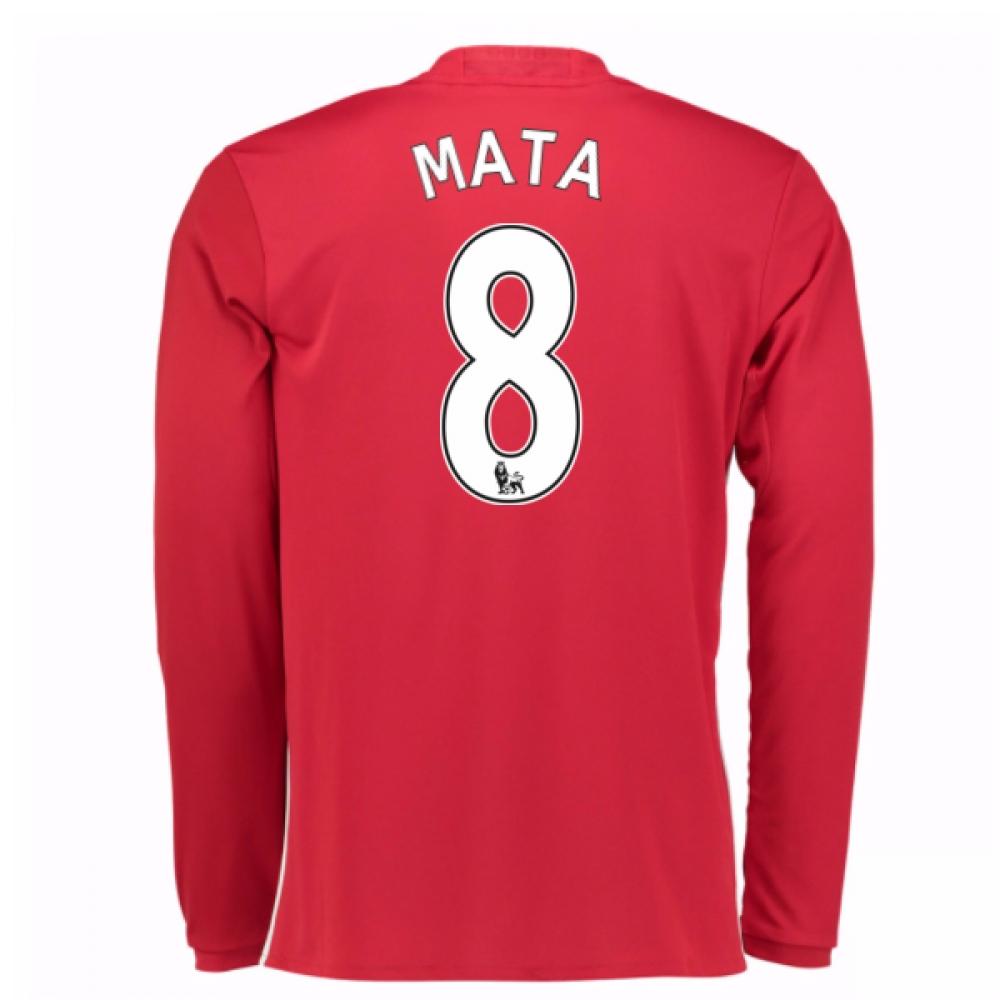 2016-17 Man United Home Long Sleeve Shirt (Mata 8)