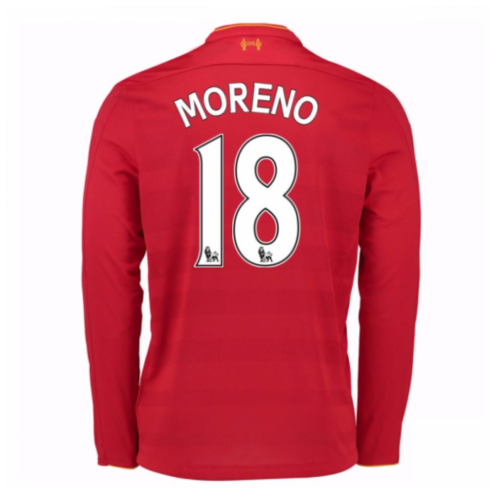 2016-17 Liverpool Home Long Sleeve Shirt (Moreno 18)