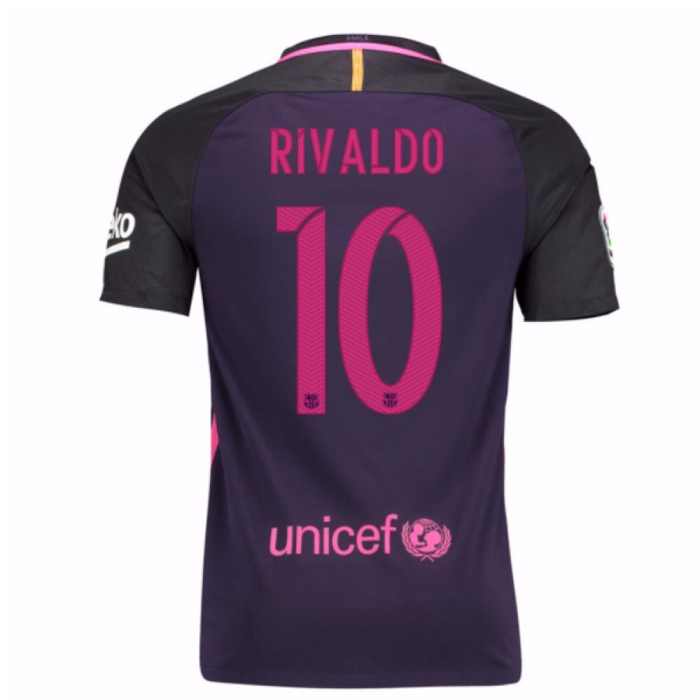 2016-17 Barcelona Away Shirt (Rivaldo 10)