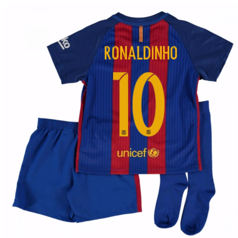 2016-17 Barcelona Home Mini Kit Shirt (Ronaldinho 10)