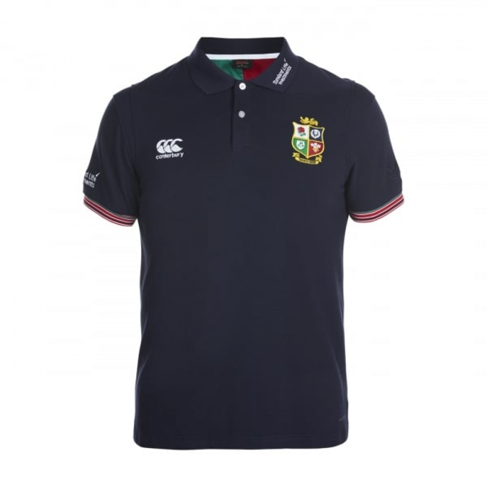 2016-2017 British Irish Lions Rugby Vapodri Cotton Polo Shirt (Peacot)