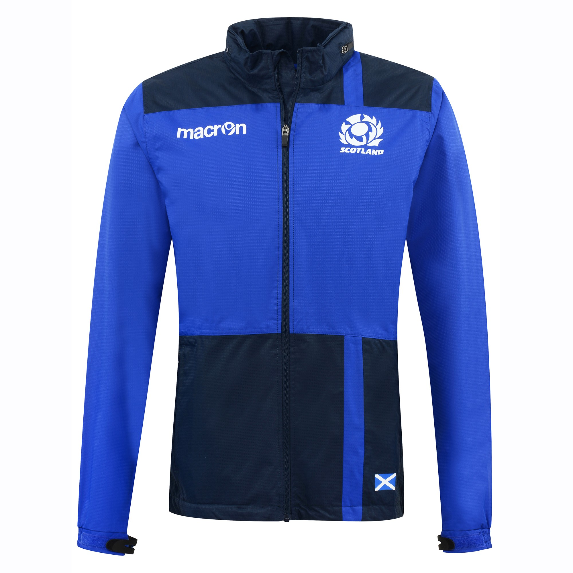 2016-2017 Scotland Macron Rugby Full Zip Waterproof Fleece Jacket (Blue)