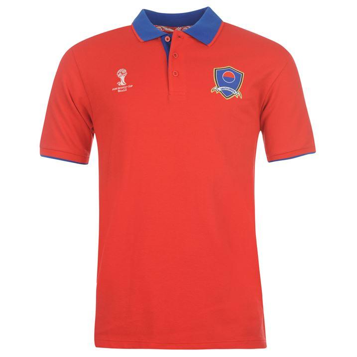South korea 2014 fifa core polo shirt red uksoccershop for Spain polo shirt 2014